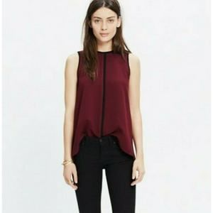 Madewell Small Crepe Canal Tank Maroon Top
